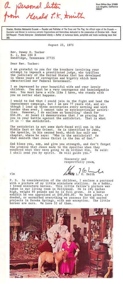 Gerald L.K. Smith Letter - Aug. 25, 1975 to Dewey H. Tucker
