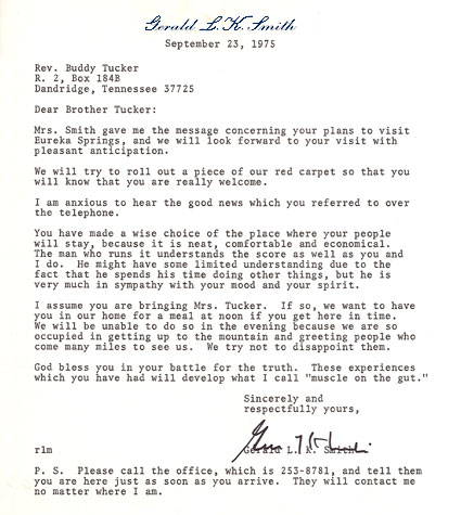 Gerald L.K. Smith Letter - Sept. 23, 1975 to Dewey H. Tucker