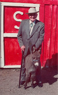Gerald L. K. Smith and his miniture donkey