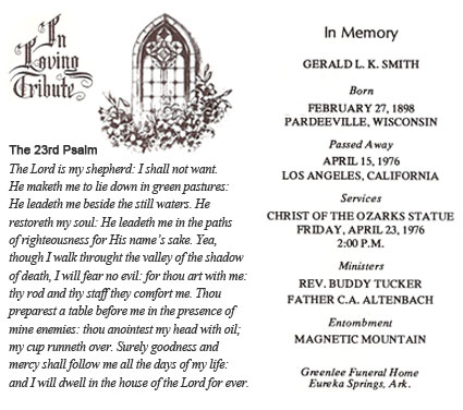Memorial Card from Gerald L.K. Smith Funeral Service