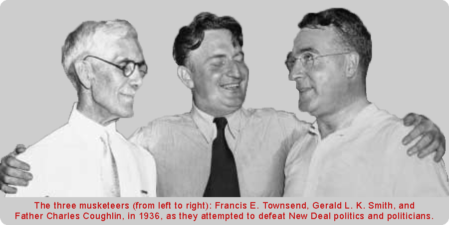Picture of Francis E. Townsend, Gerald L. K. Smith, and Father Charles Coughlin