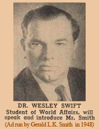 Gerald L. K. Smith ad for Dr. Wesley A. Swift