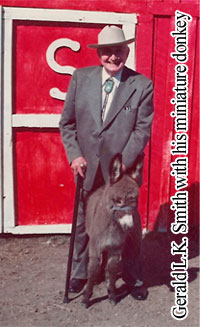 Gerald L. K. Smith with his miniature donkey